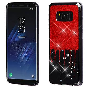 MYBAT Red Glittering & Silver Stars (Black) Krystal Gel Series Candy Skin Cover for Galaxy S8 Plus