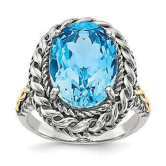 925 Sterling Silver With 14k Blue Topaz Ring Jewelry Gifts for Women - Ring Size: 6 to 8