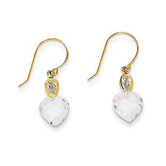 14k Yellow Gold Polished Shepherd hook Clear CZ Cubic Zirconia Simulated Diamond Love Heart Long Drop Dangle Earrings Me
