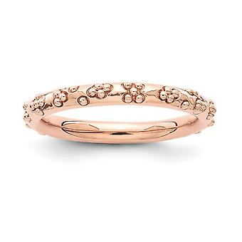 2,5mm 925 Sterling Silver Rose Gold Flashed Stackable Expressions Pink plated Textured Ring Jewely Gifts for Women - Ri