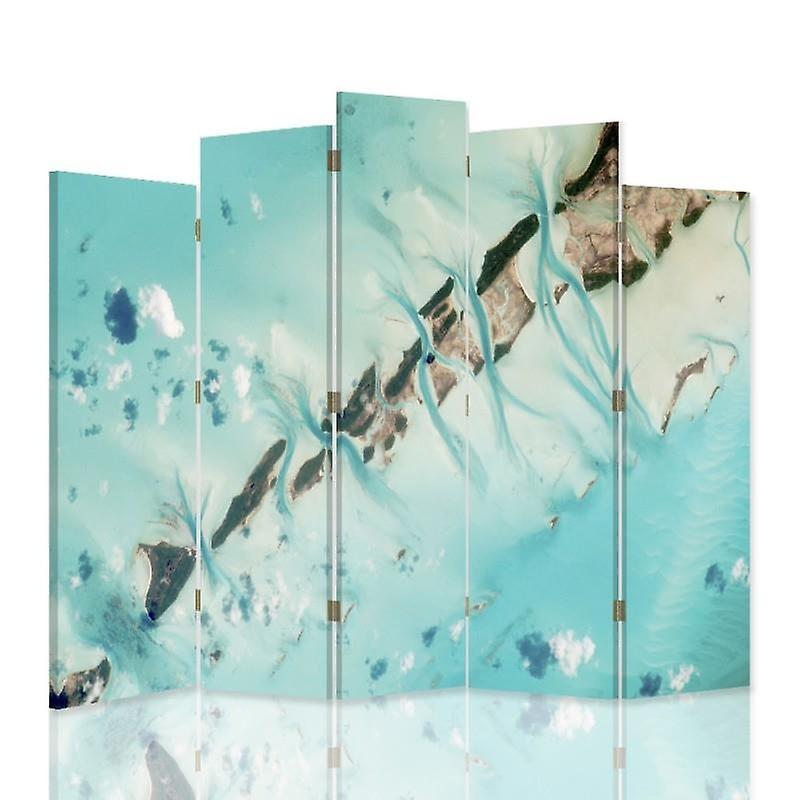 Divisor de habitación decorativa, 5 paneles, doble cara, lona giratoria, 360, agua abstracta