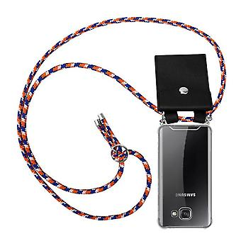 Cadorabo puhelin ketjun tapauksessa Samsung Galaxy A5 2016 tapauksessa kansi - silikoni kaulakoru viitta tapauksessa hopea renkaat - johto bändi johto ja irrotettava kotelo suojakotelo