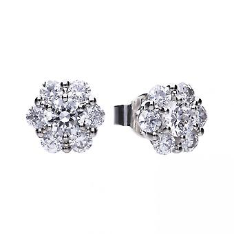 Diamonfire Silver White Zirconia Floral Shape Earrings E5602