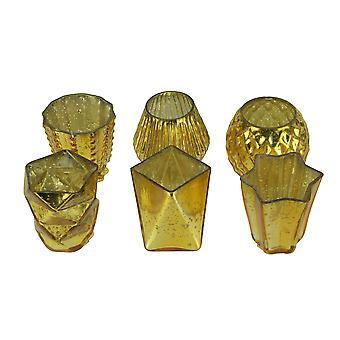 Metallic kwik glas votief kaars houders set van 6 in diverse vormen