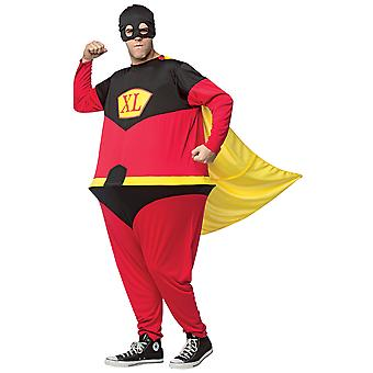 Superhero Hoopster Incredible Fat Hero Funny Comical Adulte Homme Costume OS