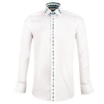 قميص للرجال كلاوديو لوجلي اليشم القطن الخالص تقليم الأكمام الطويلة