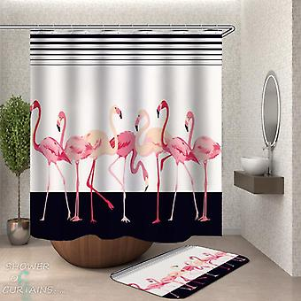 Flamingos Over Black and White Shower Curtain