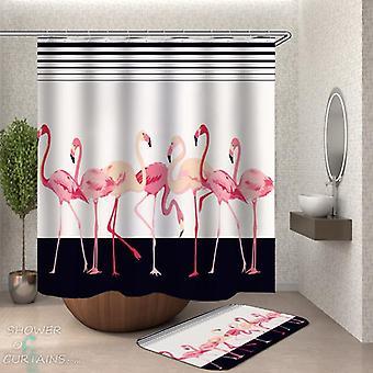 Flamingos über schwarz und weiß Duschvorhang