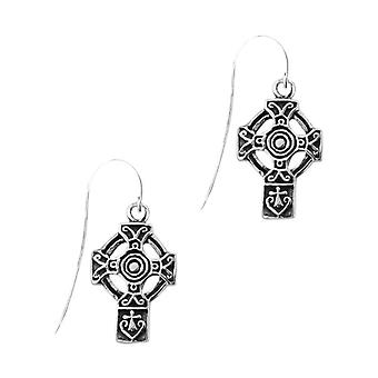 Celtic Interlaced Knotwork Cross Shaped Drop Style Pair Of Earrings