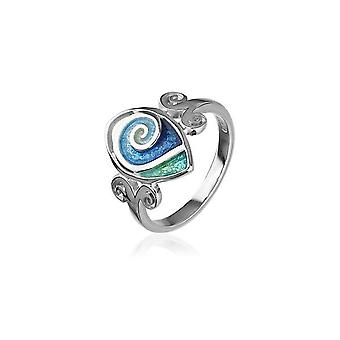 Sterling Silver Traditional Scottish 'Tranquillity' Design Ring WIth Hot Glass Enamel