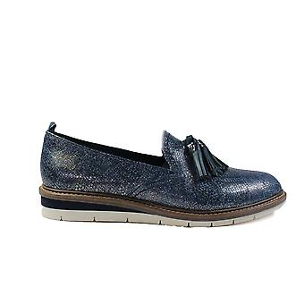 Tamaris 24300-20 Navy Leather/Textile Womens Slip On Loafer Shoes