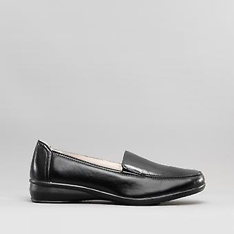 Dr Keller Sally Ladies Faux Leather Wedge Slip-on Loafers Black