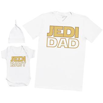 Jedi Dad & Jedi Baby - Mens T Shirt & Baby Bodysuit with Knot Hat
