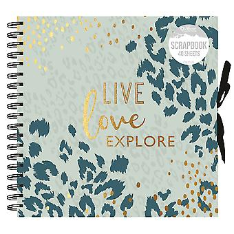 Live Love Explore Animal Print Spiral Bound Scrapbook Álbum de fotos 40 Folhas