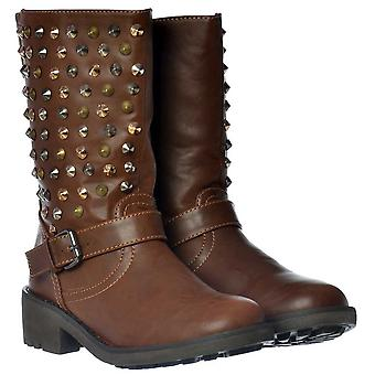 Onlineshoe New Womens Ladies Black Tan Silver Gold Studded Biker Ankle Boots Buckles 3-8