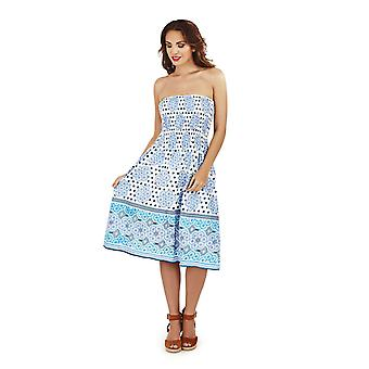 Pistachio Women's Aqua White Cotton Arabia Print Strapless Summer Dress / Skirt