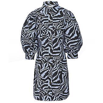 Ganni Zebra Swirl Print Cotton Poplin Dress