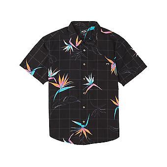 Billabong Sonntage Floral Kurzarm Shirt in schwarz/Orange
