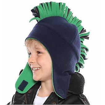Crianças meninos velo novidade moicano térmica quente inverno Trapper chapéu C312 Marinha