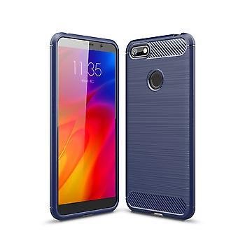 Motorola Moto E6 spela TPU Case kolfiber optik borstad skyddande ärm blå