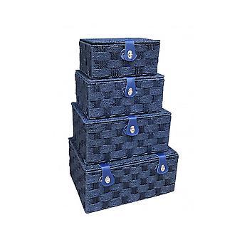 Set of 4 Twisted Blue Paper Picnic Basket