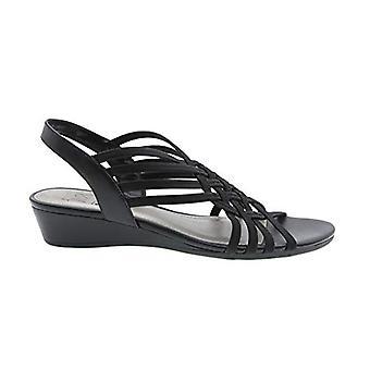 Refresh Stretch Wedge Sandal (7.5M, Black)