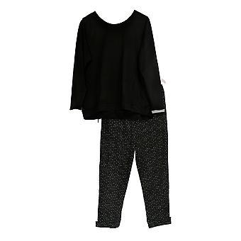 Stan Herman Frauen's Pyjama Set Französisch Terry Tunika & Jogger schwarz A301848