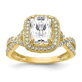 10k Tiara Collection Polished Cubic Zirconia Ring Jewelry Gifts for Women