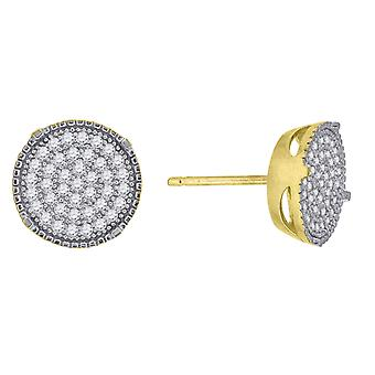 10k Yellow Gold Mens CZ Cubic Zirconia Simulated Diamond Cubic Zirconia Cluster Stud Earrings Measures 9.7x9.70mm Wide J