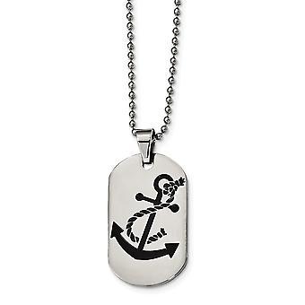 Edelstahl gravierbare poliert schwarz Emaille nautischen Schiff Mariner Anker Tier Haustier Hund Tag Halskette 24 Zoll Juwelier