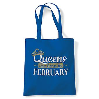 Queens Are Born In February, Tote - Birthday Reusable Canvas Bag Gift
