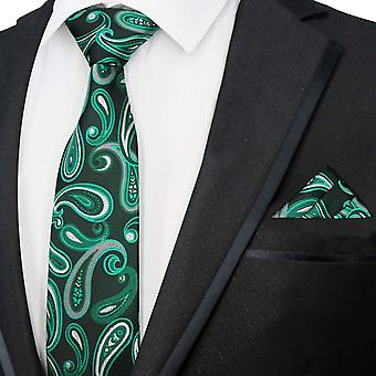 Navy blue & bright green paisley tie & pocket square