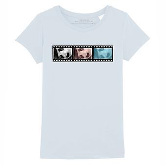 STUFF4 Girl's Round Neck T-Shirt/Film Strip / Animal / Panda/Baby Blue