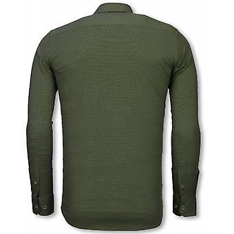 Italian shirts-Slim Fit shirt-Blouse Reptile Skin Pattern-Green