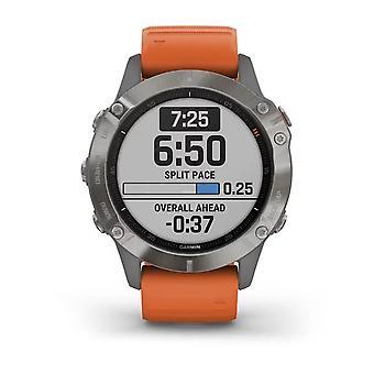 Garmin Watches 010-02158-14 Fenix 6 Titanium Silver & Orange Silicone Strap