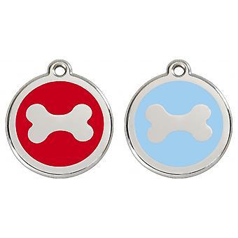 Red Dingo Pet Collar Identification Tag - Bone
