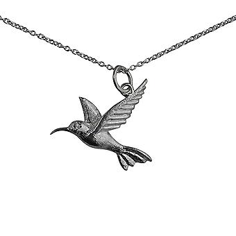 Silver 24x22mm Hummingbird Pendant with a rolo Chain 24 inches
