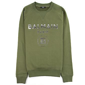 Balmain Silver Logo Bawełniana bluza Khaki