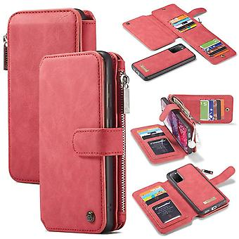 CASEME Samsung Galaxy S20 Retro Leather Wallet Case - Red