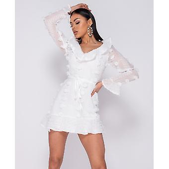 Dobby Frill Detail Mini Dress - White
