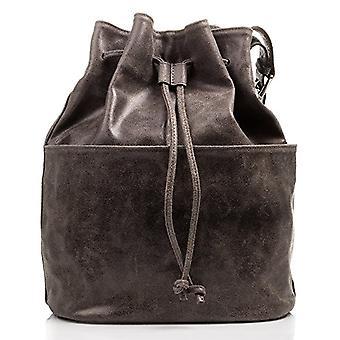 FIRENZE ARTEGIANI Real Leather Women's Bag. Genuine leather bag. Adjustable cord closure. Shoulder bag. Boho women's bag Made in ITALY. REAL ITALIAN PELLE 28x36x18 cm. Color: GRAY
