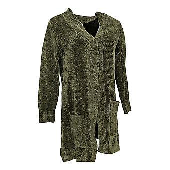 Denim & Co. Women's Sweater Chenille Cardigan Olive Green A311580