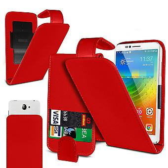 Lava Z40 Large Red Clamp Style PU Cuir Flip Phone Case