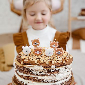Teddy Bear Birthday Candles - Cake Decoration x 6