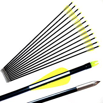 Fiberglass Arrow With Plastic Feather And Nock Steel Arrowhead Recurve Bow
