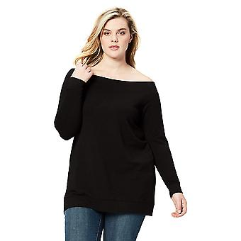 Daily Ritual Women's Plus Size Terry Cotton and Modal Cold Shoulder Tunic, 1X...