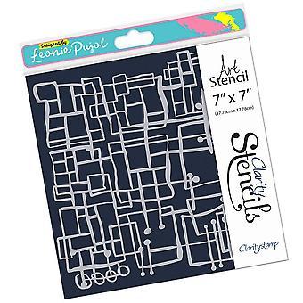 Claritystamp Leonie's Blocks Abstract 7x7 Inch Stencil