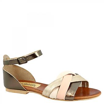 Women's handmade flat sandals with ankle strap closure in copper white pink leather