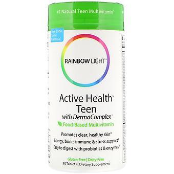 Rainbow Light, Active Health Teen with Derma Complex, Food-Based Multivitamin, 9