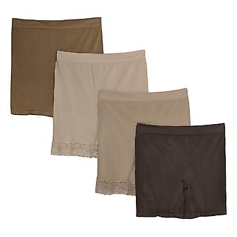 Breezies Plus Shaper Mid-Thigh Short Set Of 4 Asst W/ Brown A374503